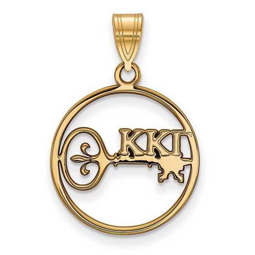 GP041KKG: SS w/GP LogoArt Kappa Kappa Gamma Medium Circle Pendant