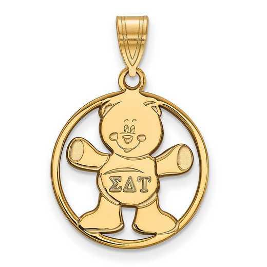 GP041SDT: SS w/GP LogoArt Sigma Delta Tau Medium Circle Pendant