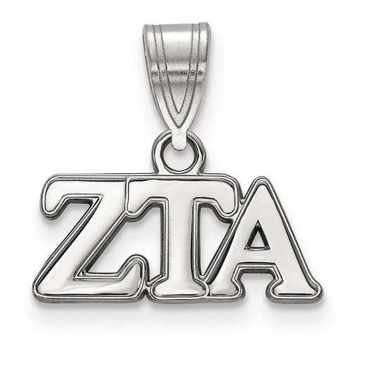 SS003ZTA: Sterling Silver LogoArt Zeta Tau Alpha Medium Pendant