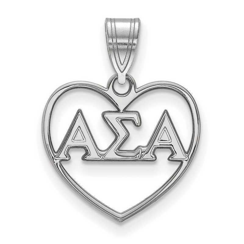 SS008ASI: Sterling Silver LogoArt Alpha Sigma Alpha Heart Pendant