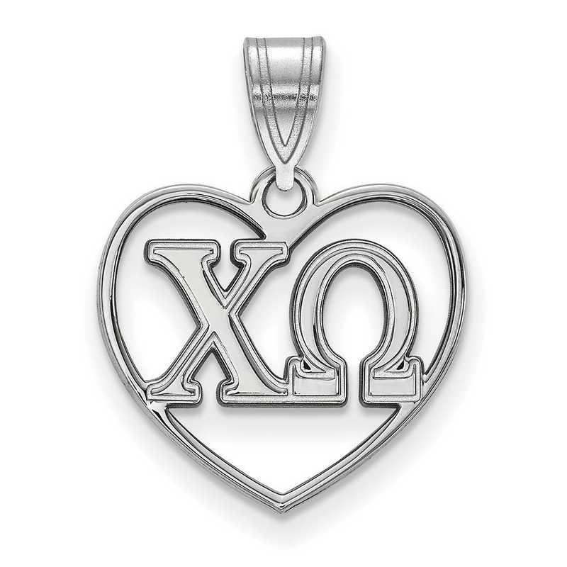SS008CHO: Sterling Silver LogoArt Chi Omega Heart Pendant