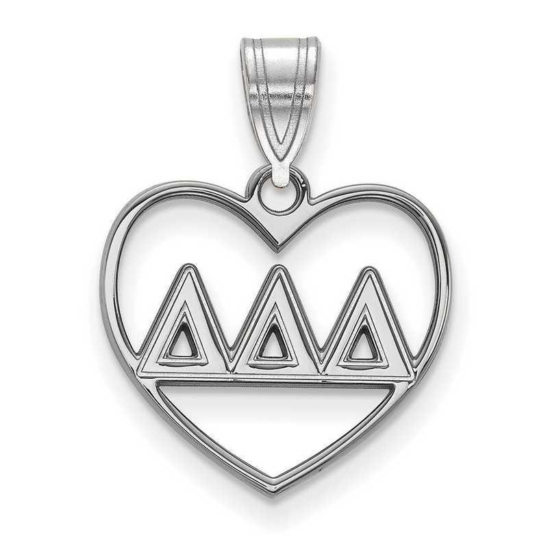 SS008DDD: Sterling Silver LogoArt Delta Delta Delta Heart Pendant