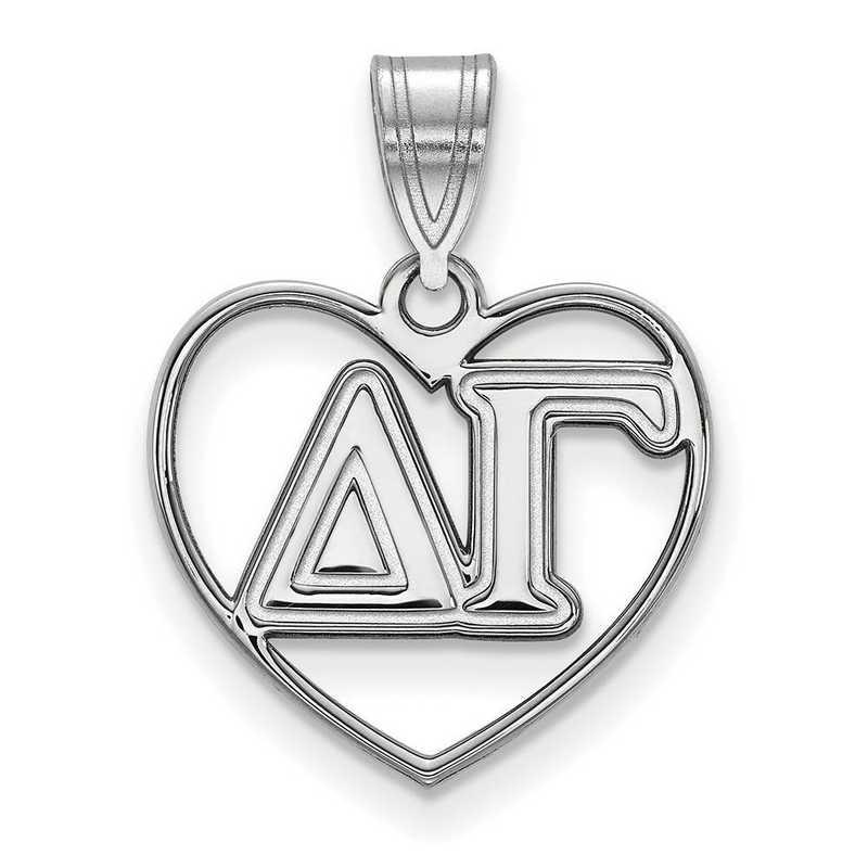 SS008DG: Sterling Silver LogoArt Delta Gamma Heart Pendant