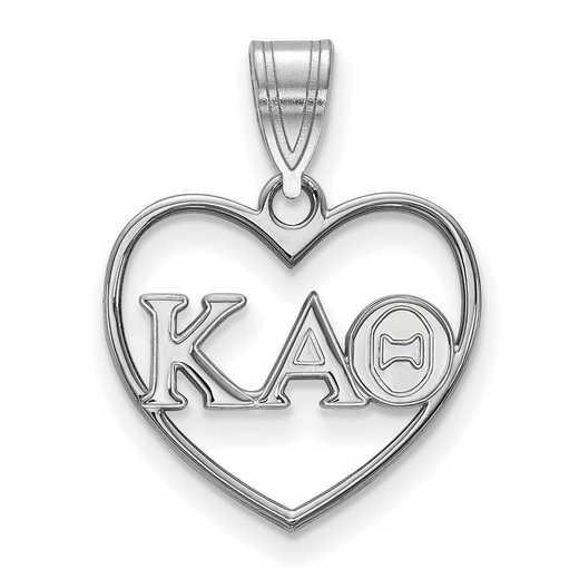 SS008KAT: Sterling Silver LogoArt Kappa Alpha Theta Heart Pendant