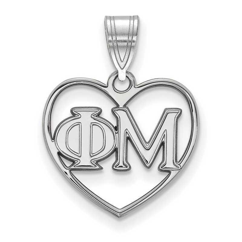 SS008PHM: Sterling Silver LogoArt Phi Mu Heart Pendant