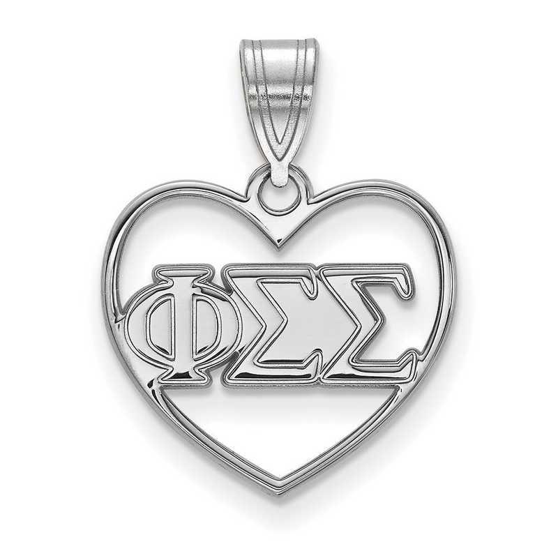 SS008PSS: Sterling Silver LogoArt Phi Sigma Sigma Heart Pendant