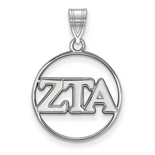 SS011ZTA: SS Rhod-plated LogoArt Zeta Tau Alpha Medium Circle Pendant