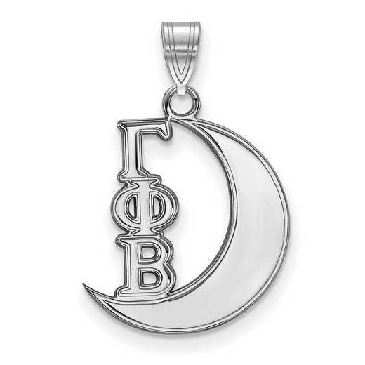 SS035GPB: Sterling S. Rhod-plated LogoArt Gamma Phi Beta Small Pendant