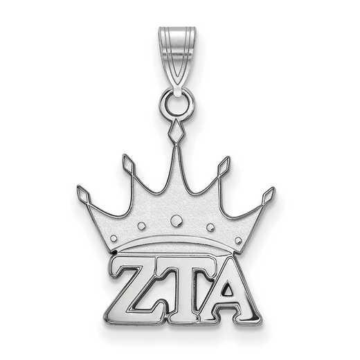 SS035ZTA: Sterling S. Rhod-plated LogoArt Zeta Tau Alpha Small Pendant