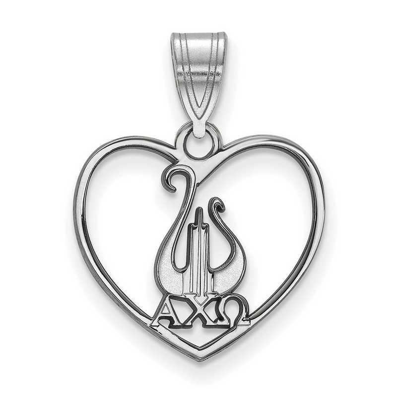 SS040ACO: Sterling Silver LogoArt Alpha Chi Omega Heart Pendant