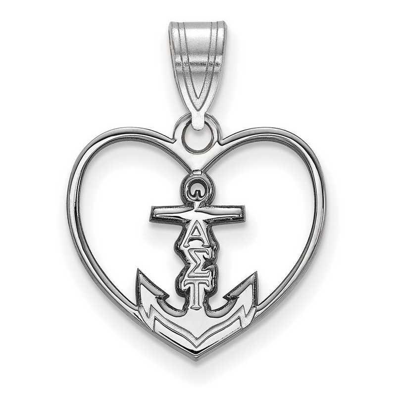SS040ALS: Sterling Silver LogoArt Alpha Sigma Tau Heart Pendant