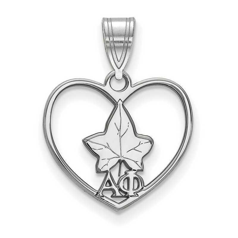 SS040APH: Sterling Silver LogoArt Alpha Phi Heart Pendant