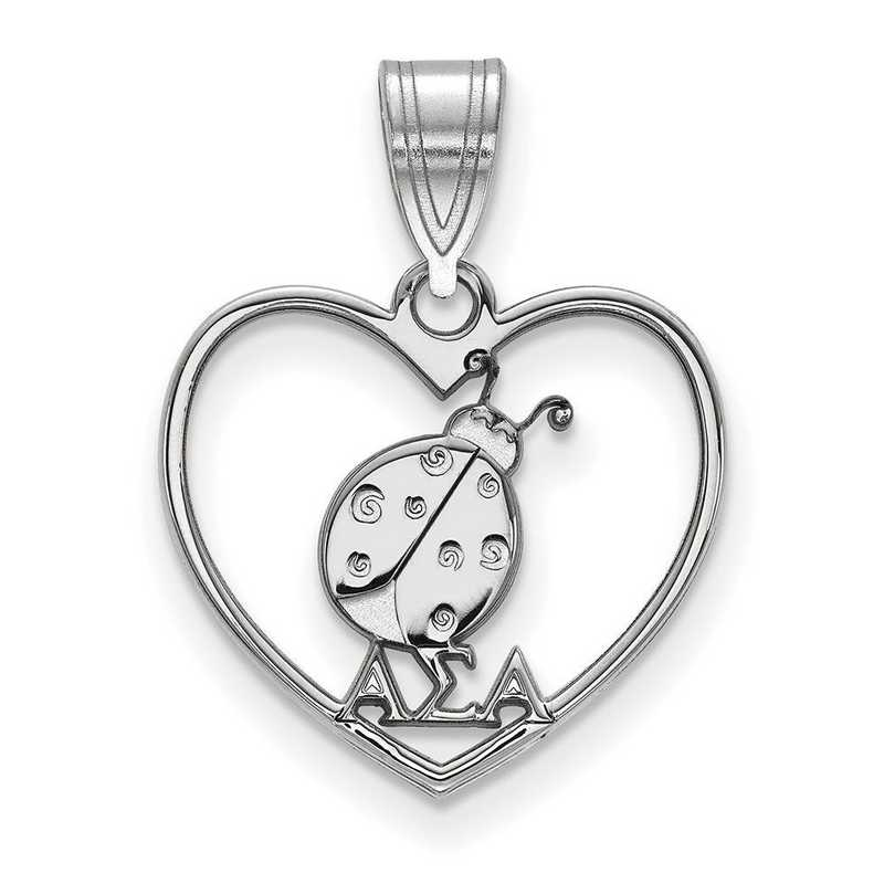SS040ASI: Sterling Silver LogoArt Alpha Sigma Alpha Heart Pendant