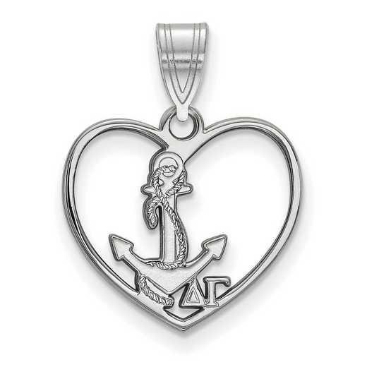 SS040DG: Sterling Silver LogoArt Delta Gamma Heart Pendant
