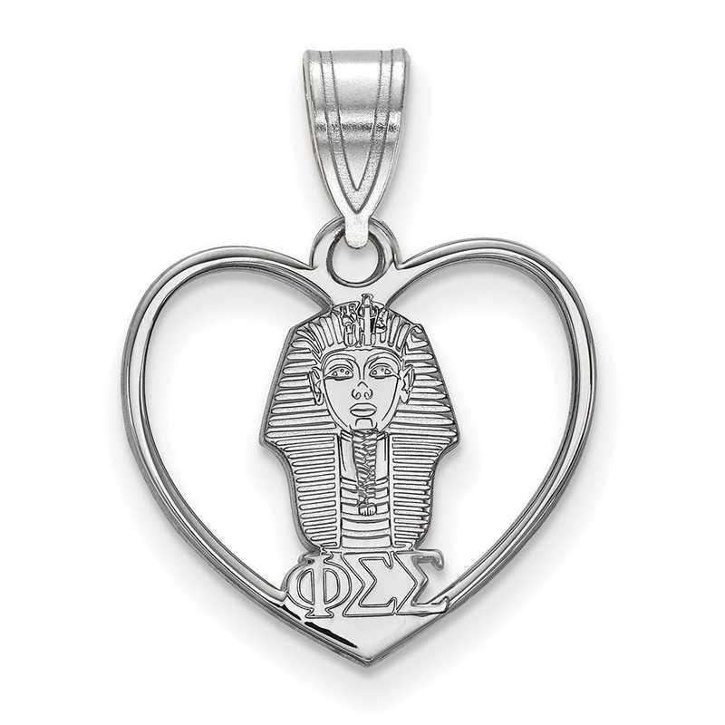 SS040PSS: Sterling Silver LogoArt Phi Sigma Sigma Heart Pendant