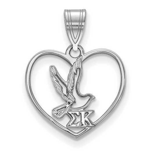 SS040SKP: Sterling Silver LogoArt Sigma Kappa Heart Pendant