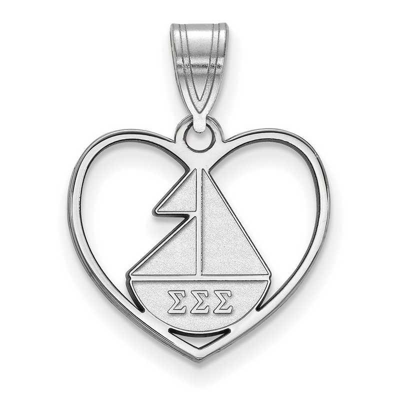 SS040SSS: Sterling Silver LogoArt Sigma Sigma Sigma Heart Pendant