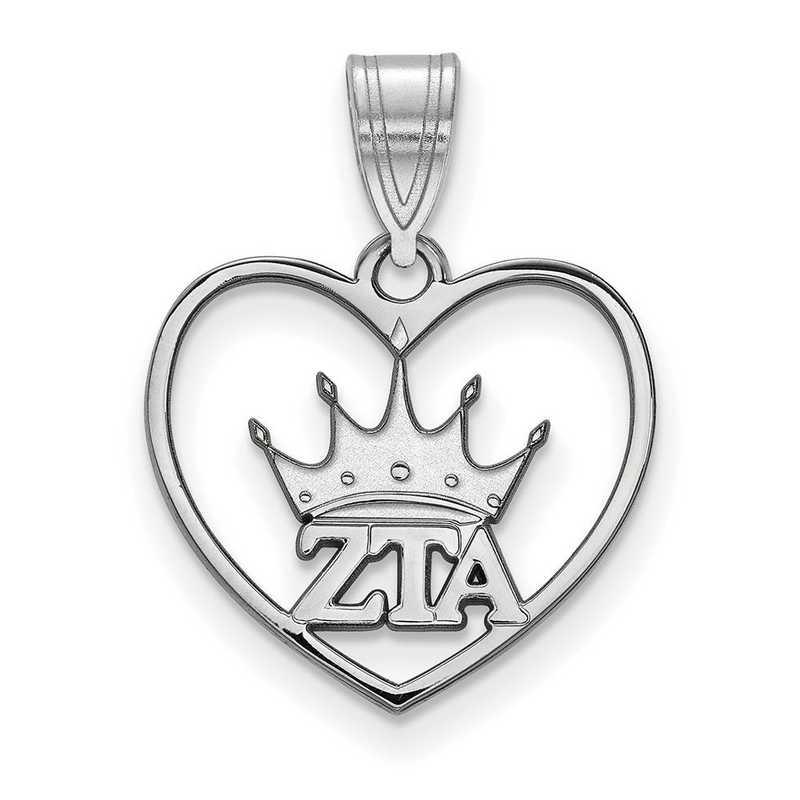 SS040ZTA: Sterling Silver LogoArt Zeta Tau Alpha Heart Pendant