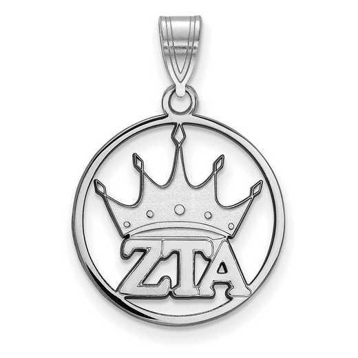 SS041ZTA: SS Rhod-plated LogoArt Zeta Tau Alpha Medium Circle Pendant