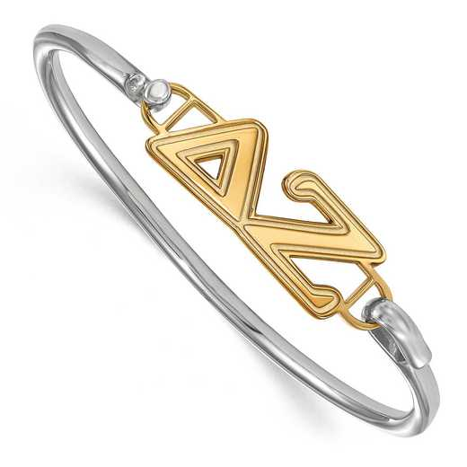 Delta Zeta Sterling Silver Yellow Gold Flash Plated Bangle