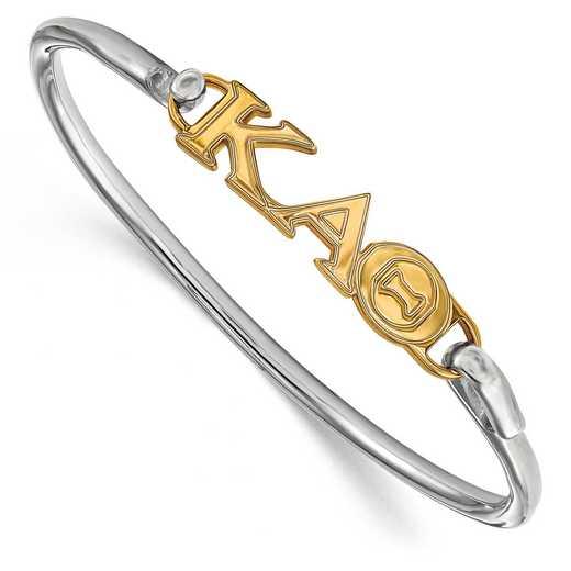 Kappa Alpha Theta Sterling Silver Yellow Gold Flash Plated Bangle