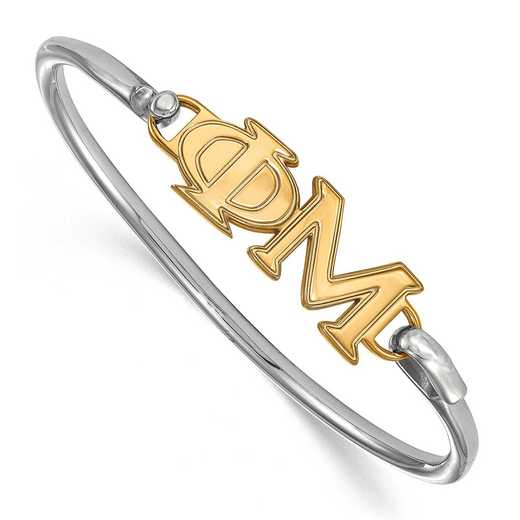 Phi Mu Sterling Silver Yellow Gold Flash Plated Bangle