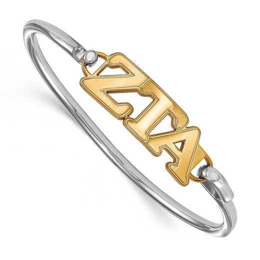 Zeta Tau Alpha Sterling Silver Yellow Gold Flash Plated Bangle