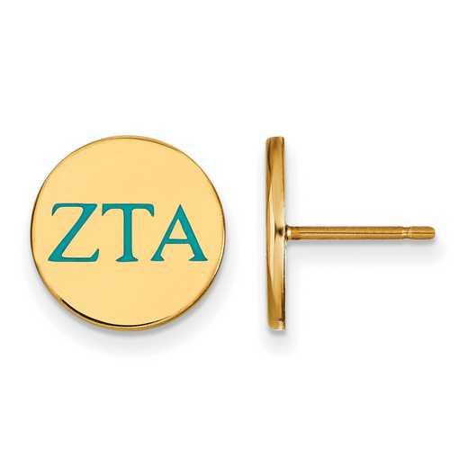 GP032ZTA: 925 YGFP Zeta Tau Alpha Enml Post Ears