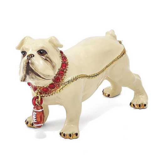 BJ2035: Bejeweled BUTCH Bulldog with Football Trinket Box