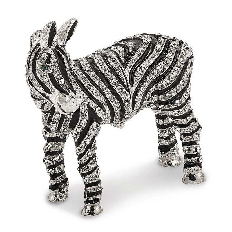 BJ2041: Bejeweled ZELDA Zebra Bling Full Crystal Trinket Box