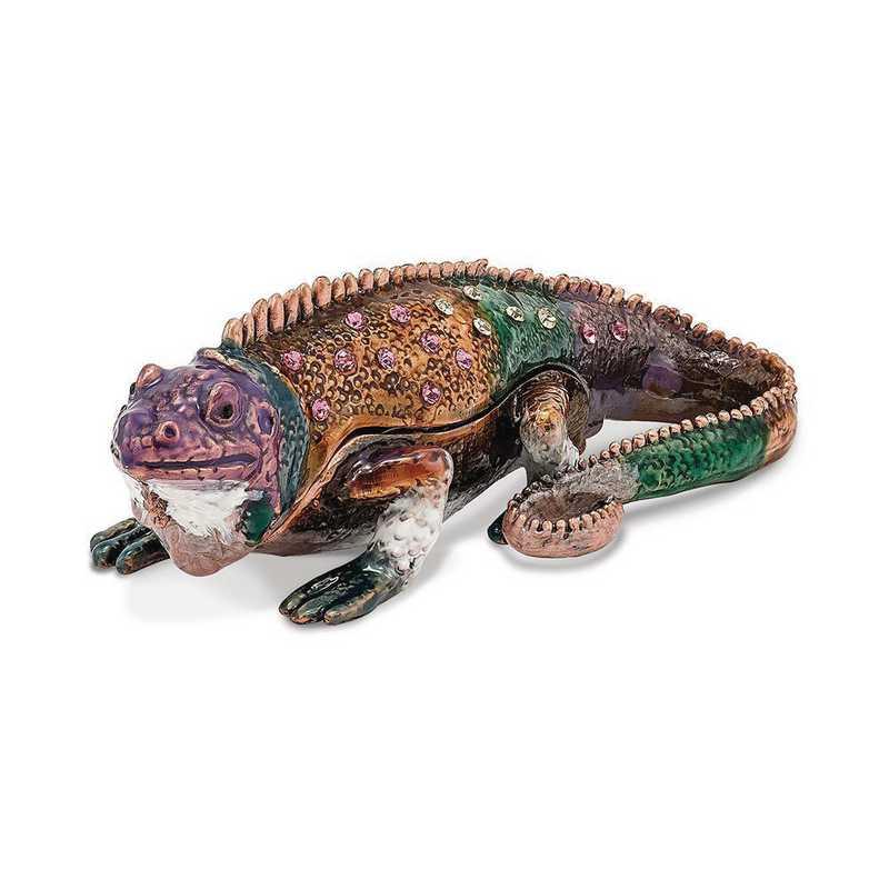 BJ2048: Bejeweled SAINT THOMAS Iguana Trinket Box