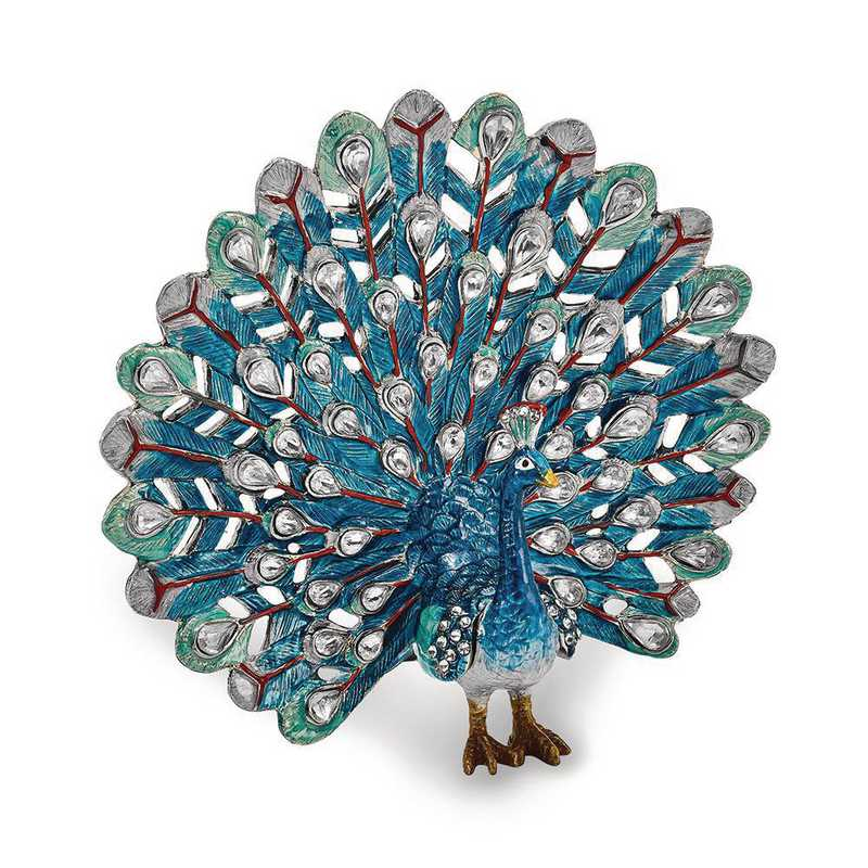 BJ2055: Bejeweled IRIDESCENCE Blue Peacock Trinket Box