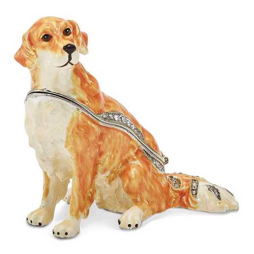 BJ2084: Bejeweled GOLDIE Golden Retriever Trinket Box
