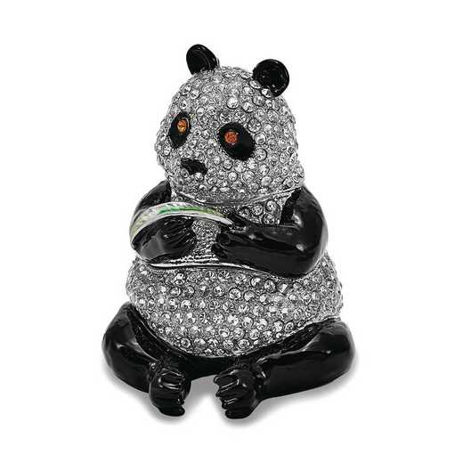BJ2123: Bejeweled LING LING Panda Bear with Leaf Trinket Box