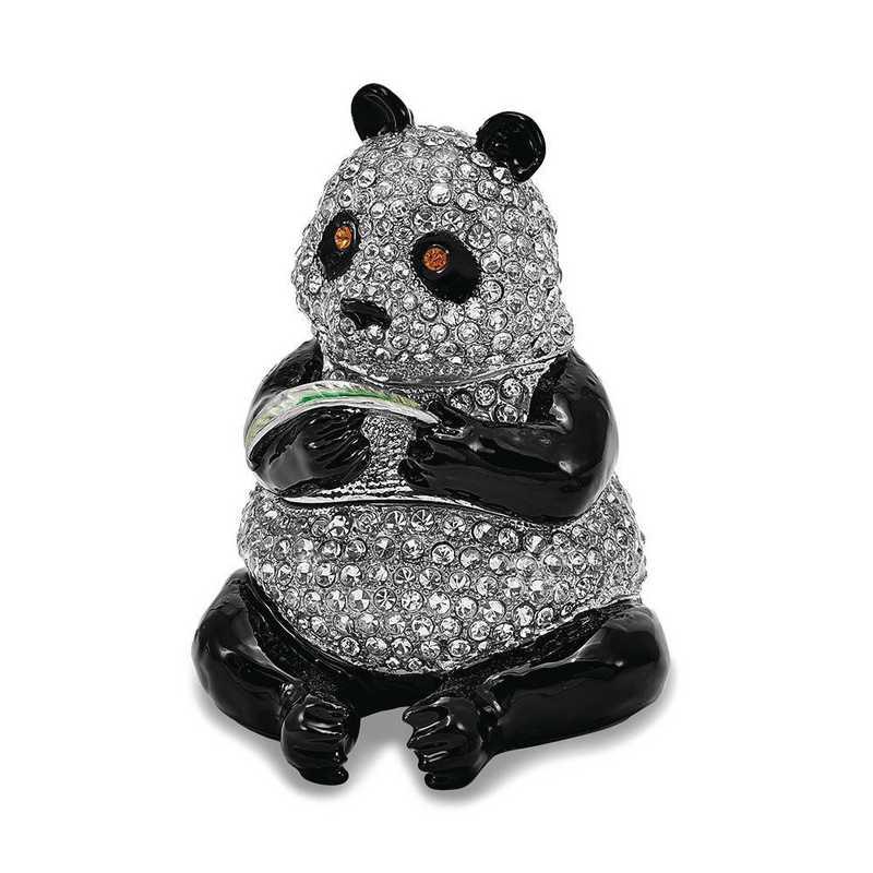 BJ2123: Bejeweled LING LING Panda Bear with Leaf Trinket Box