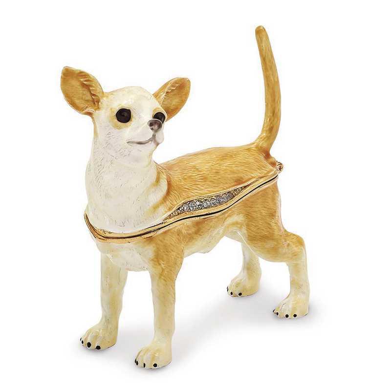 BJ2164: Bejeweled SAMSON Chihuahua Trinket Box