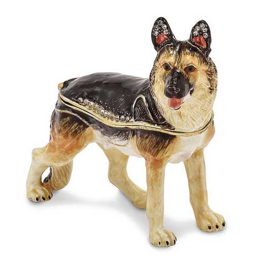 BJ2166: Bejeweled ZEUS German Shepherd Trinket Box
