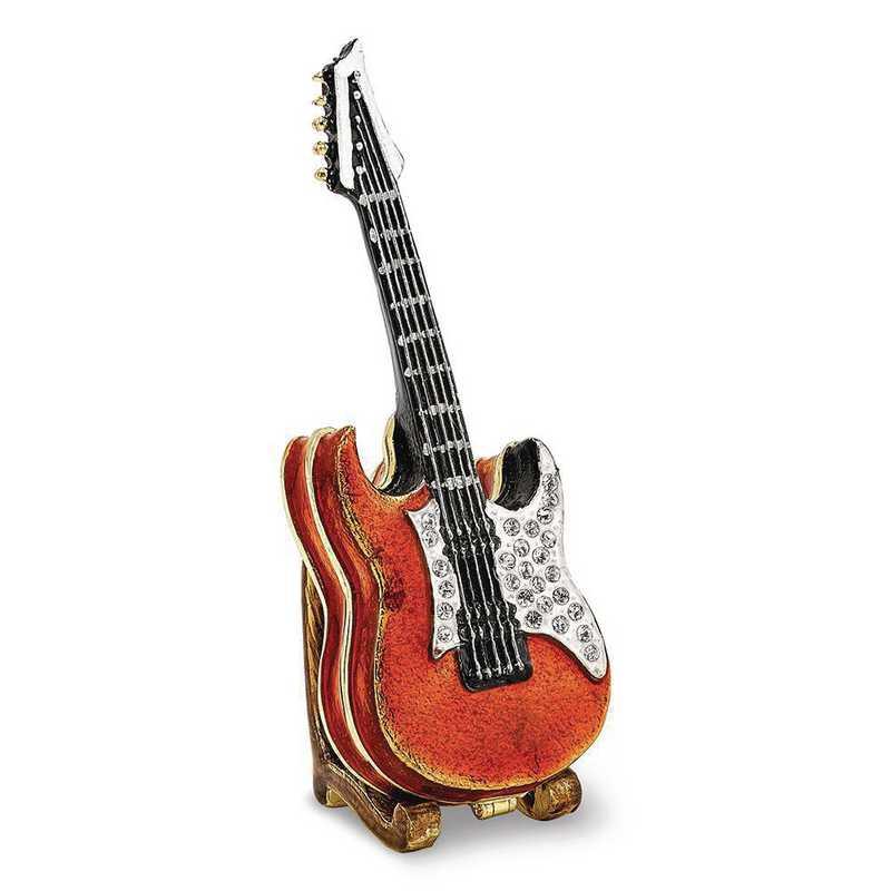 BJ2250: Bejeweled STRUMMIN' TUNES Red Guitar Trinket Box