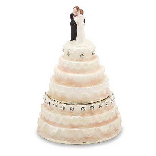 BJ3040: Bejeweled I DO Wedding Cake Trinket Box