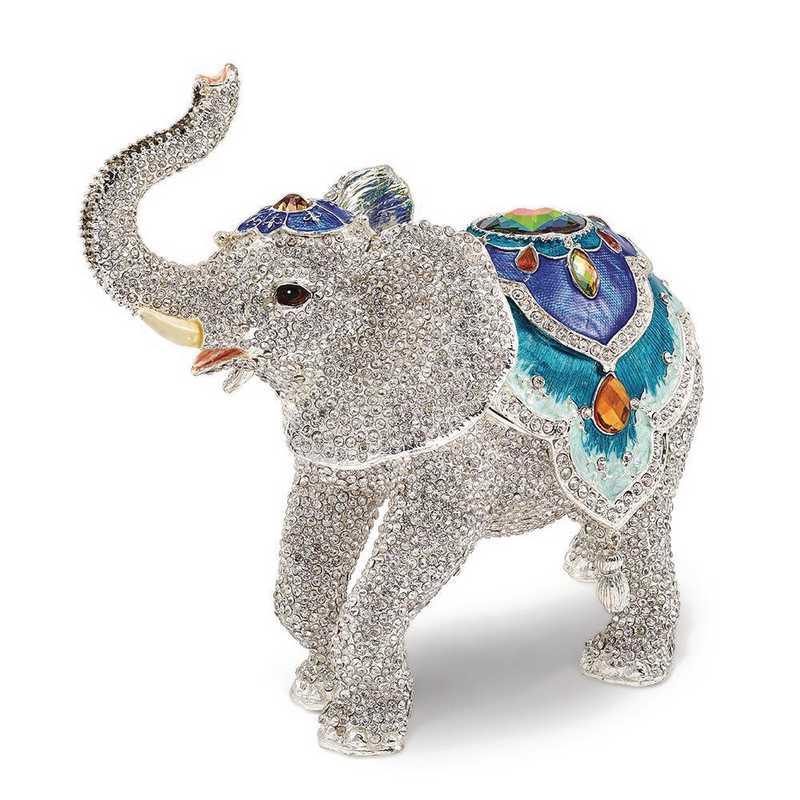 BJ3084: Bejeweled BAKUL Full Crystal White Elephant Trinket Box