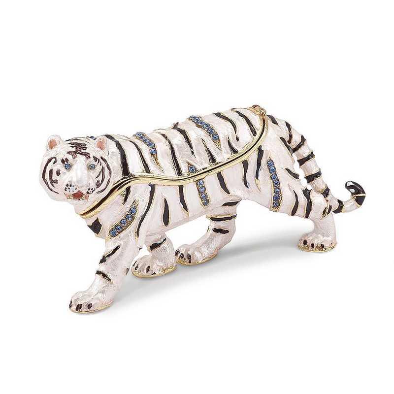 BJ3087: Bejeweled MALA White Tiger Trinket Box