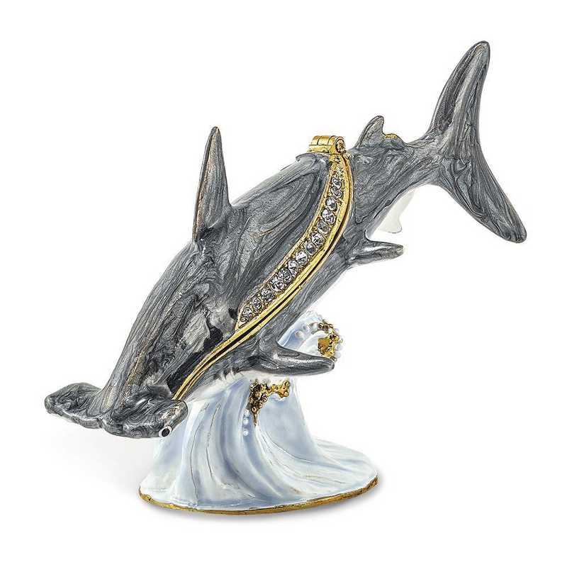 BJ4003: Bejeweled CLOBBER Hammerhead Shark Trinket Box