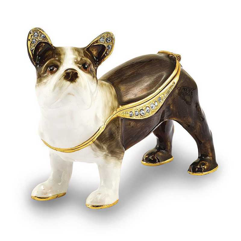 BJ4008: Bejeweled PIERRE French Bulldog Trinket Box