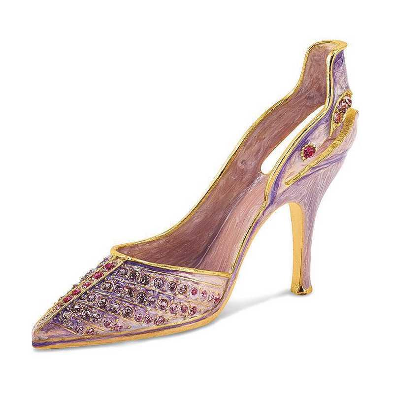 BJ4021: Bejeweled Crystal Enameled Lavender High Heel Card Holder