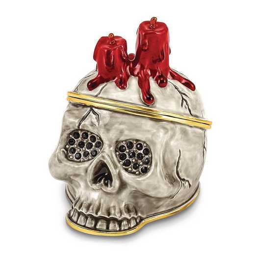BJ4049: Bejeweled CAPTAIN BLACK BEARD Skull w/Red Candle Trinket Box