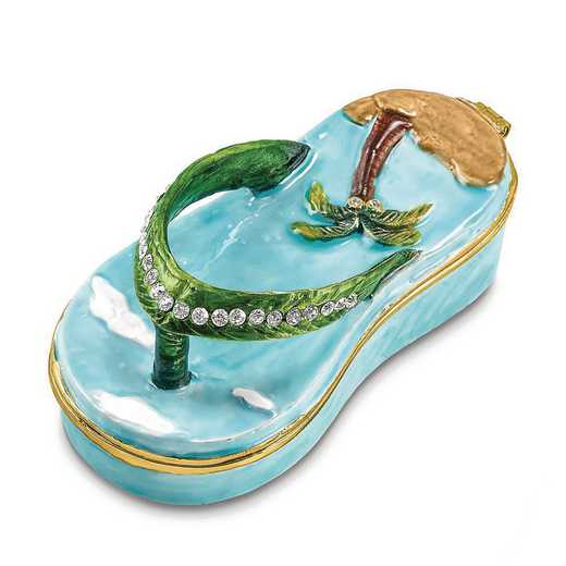 BJ4050: Bejeweled SANDY TOES Sandal with Palm Tree Trinket Box