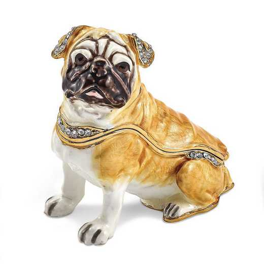 BJ4064: Bejeweled WEDNESDAY Pug Trinket Box