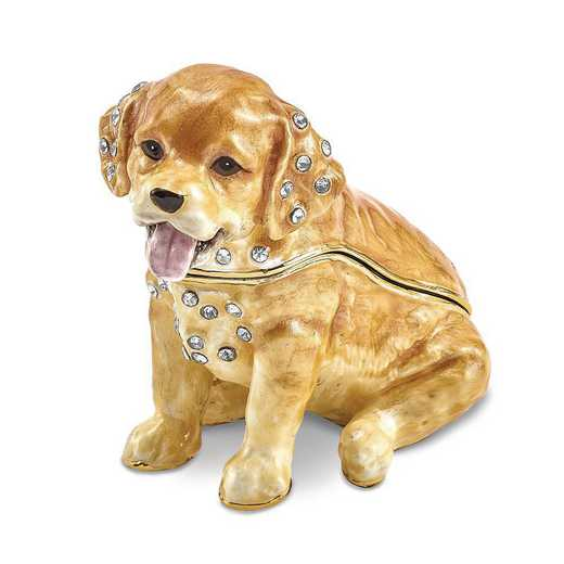 BJ4065: Bejeweled SASSY Golden Retriever Pup Trinket Box