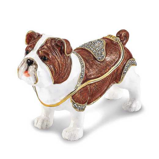 BJ4072: Bejeweled MAC English Bulldog Trinket Box