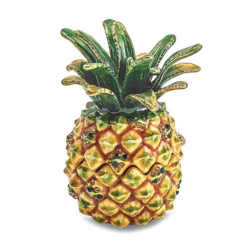 BJ4077: Bejeweled GOOD VIBES Golden Pineapple Trinket Box
